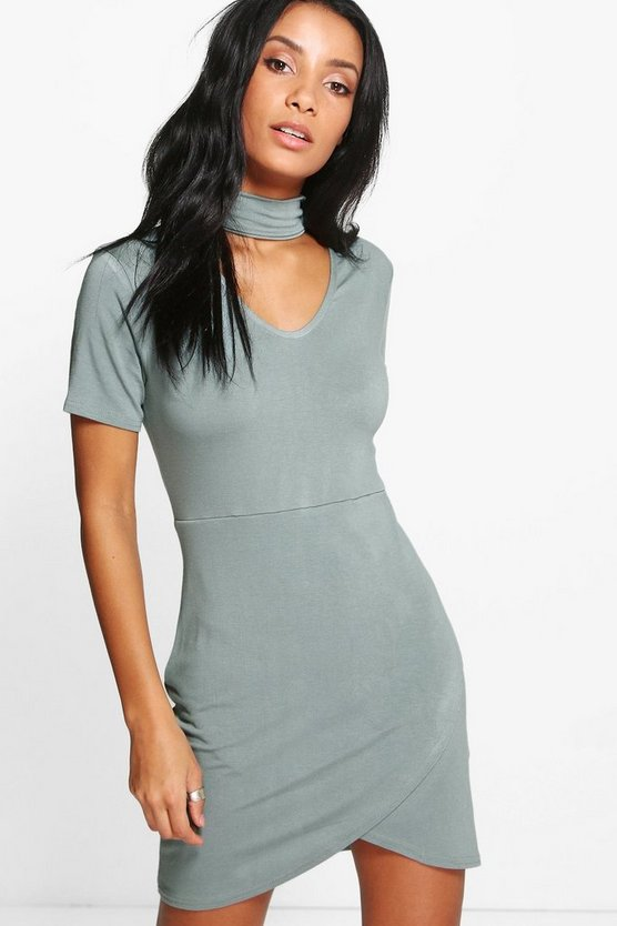 Audrina Choker Asymetric Bodycon Dress