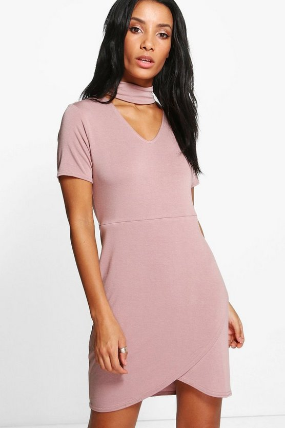 Audrina Choker Asymmetric Bodycon Dress
