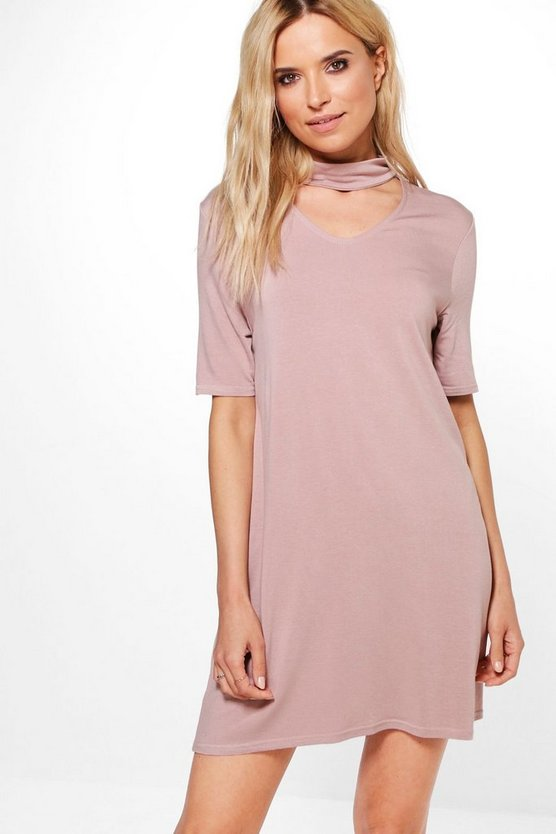 Gale Choker Sweat Shift Dress