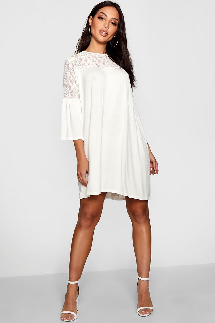 Jinny Lace Insert Swing Dress