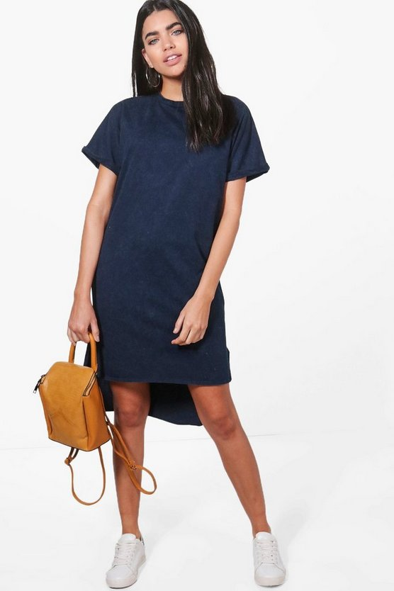 Fi Bleach Wash Stepped Hem T-Shirt Dress