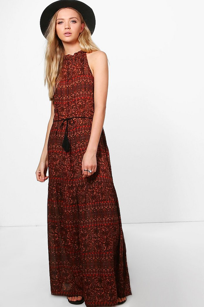 Maria Printed Tassle Trim Maxi Dress