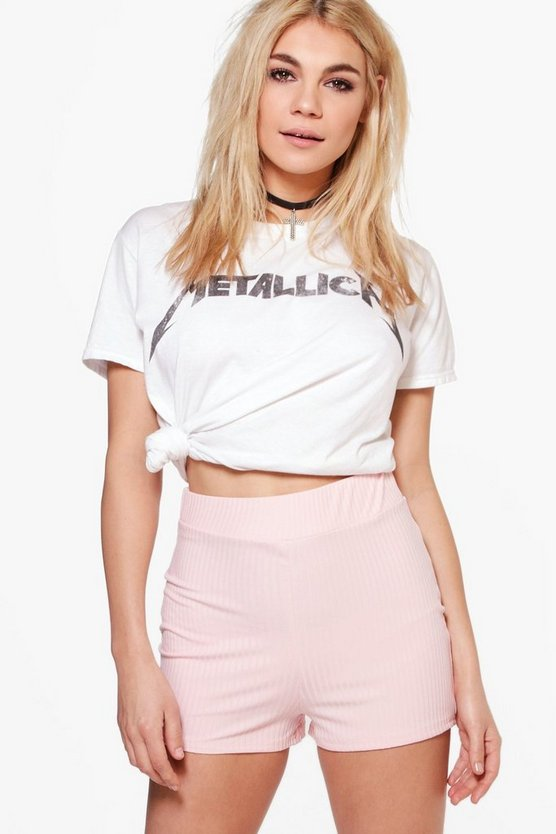 Hannah High Waisted Ribbed Hotpants