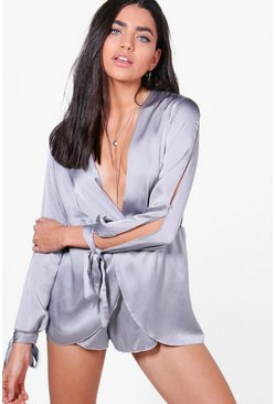 Louise Satin Slit Arm Luxe Playsuit