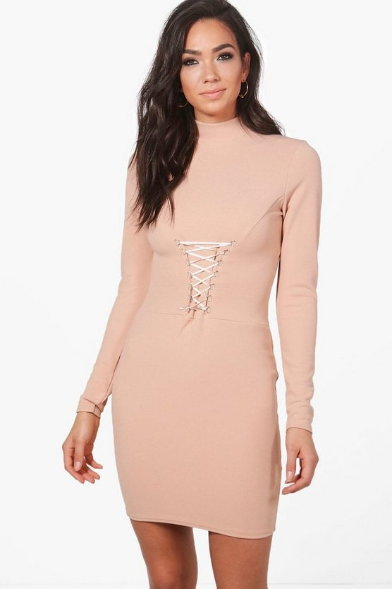 Isobel Corset Waist High Neck Bodycon Dress