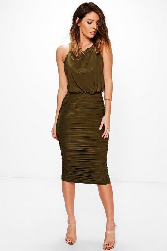 Chris Slinky Rouched Side High Neck Midi Dress