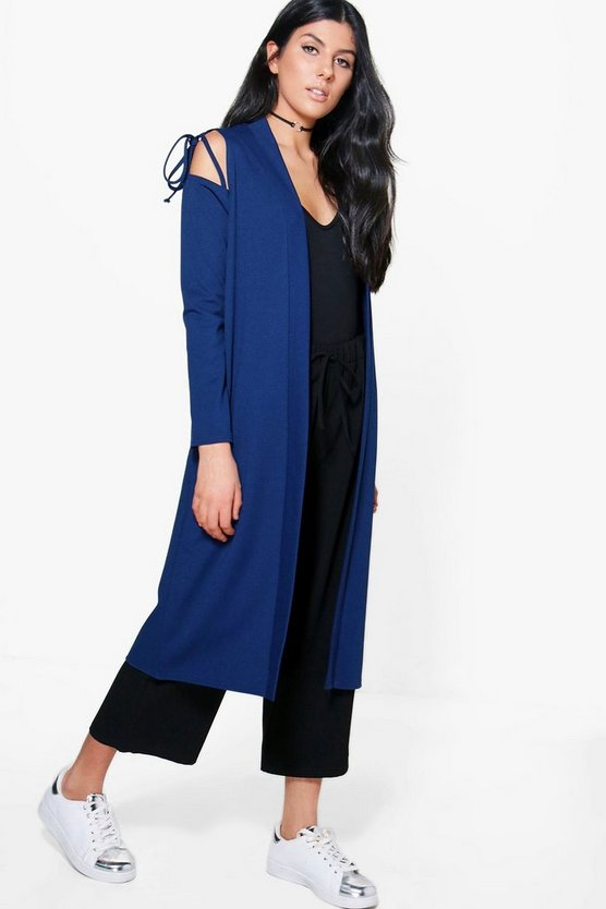 Jasmine Tie Sleeve Cold Shoulder Duster