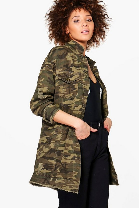 Harriet Long Distressed Camo Jacket