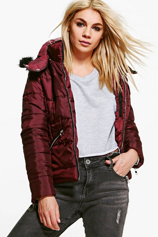Ava Crop Padded Jacket With Faux Fur Hood