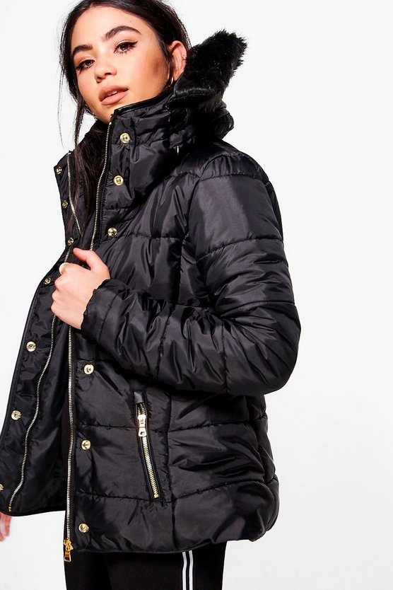 Ella Padded Jacket With Detachable Faux Fur Collar
