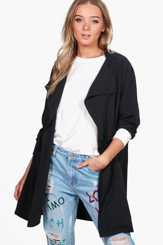 Milly Tie Waist Waterfall Utility Jacket
