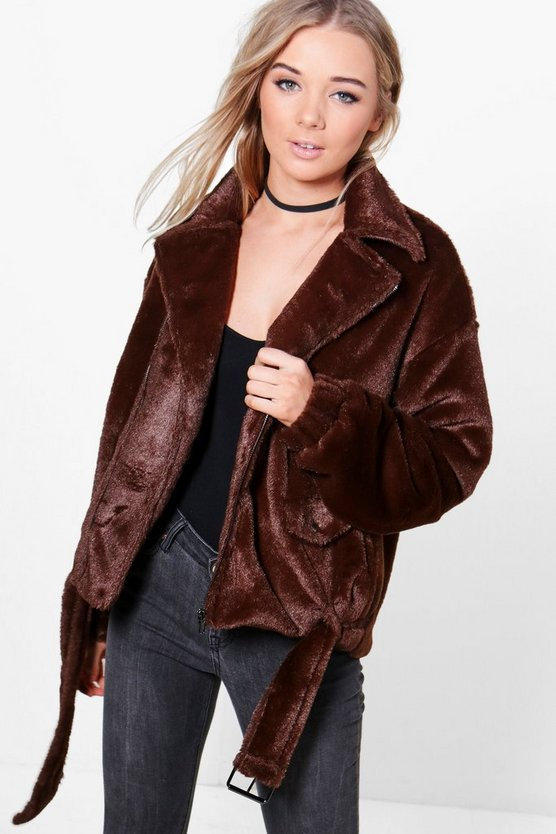 Jade Oversized Teddy Fur Biker