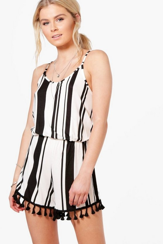 Rose Striped Tassel Trim Strappy Playsuit