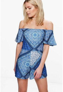 Jen Tile Print Off Shoulder Playsuit