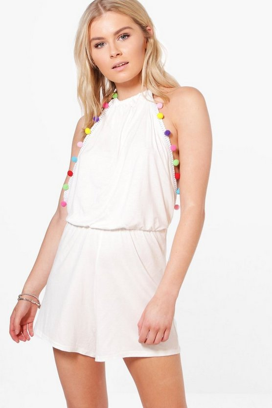 Amy Pom Pom Trim Halter Neck Playsuit