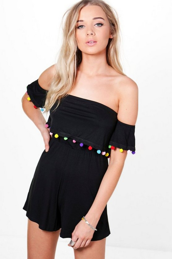 Aliya Off The Shoulder Pom Pom Flare Sleeve Playsuit