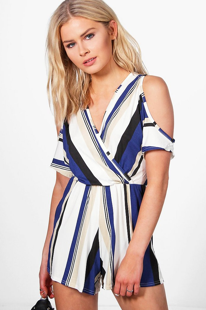 Lois Open Shoulder Wrap Over Striped Playsuit