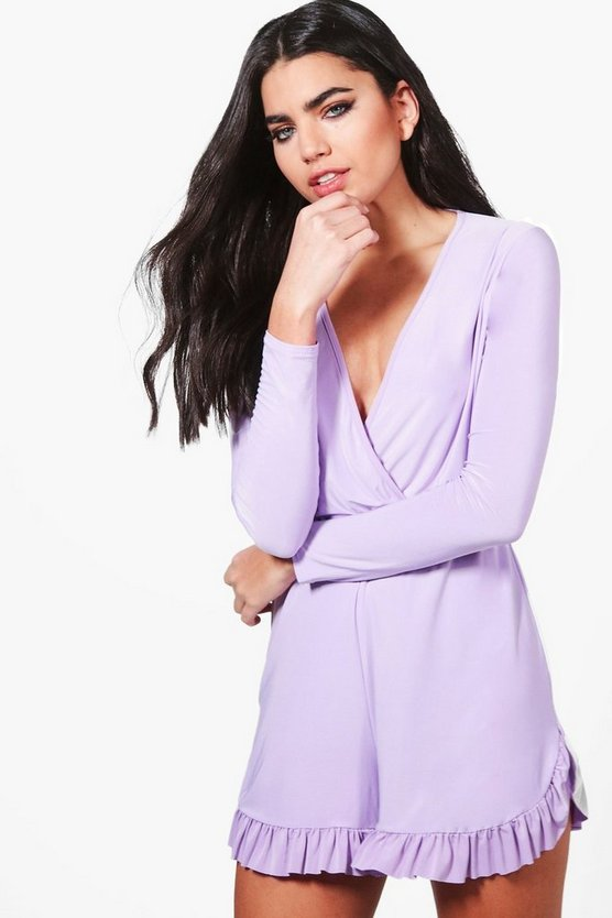 Lara Wrap Over Frill Hem Playsuit