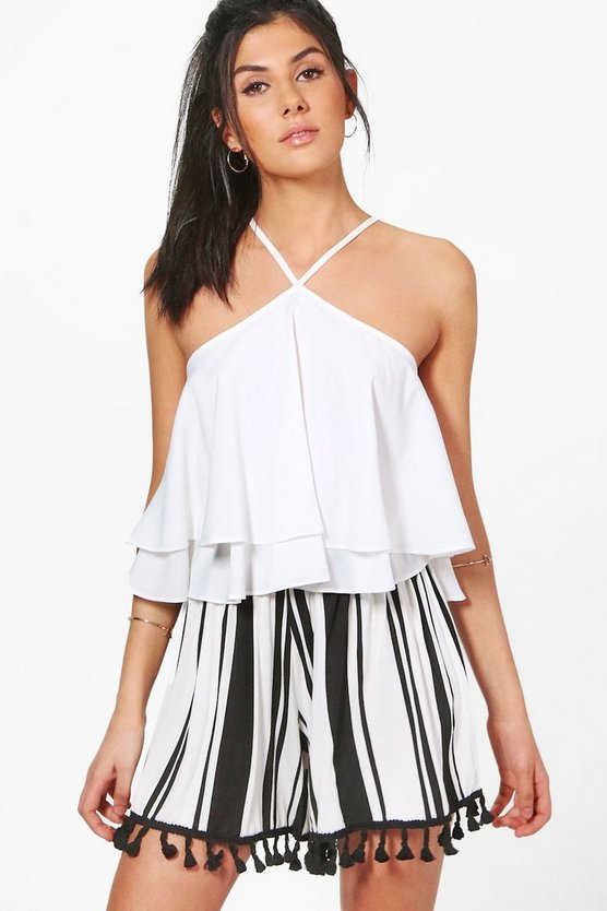 Zena Striped Tassel Trim Flippy Shorts