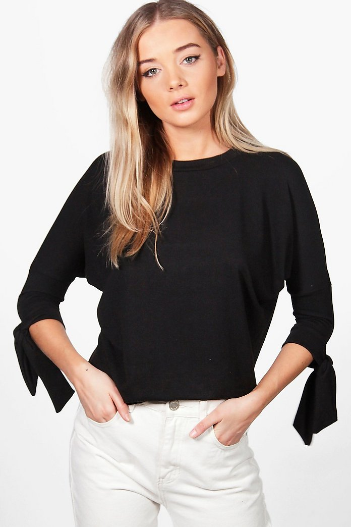 Laura Tie Sleeve Batwing Crop Knit Top