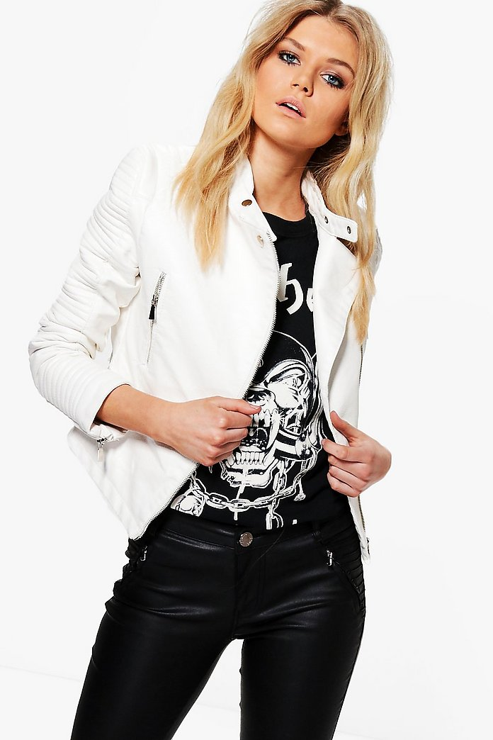 Keira Quilted Sleeve Faux Leather Biker Jacket