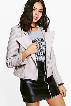 Ellie Boutique Faux Leather Biker Jacket