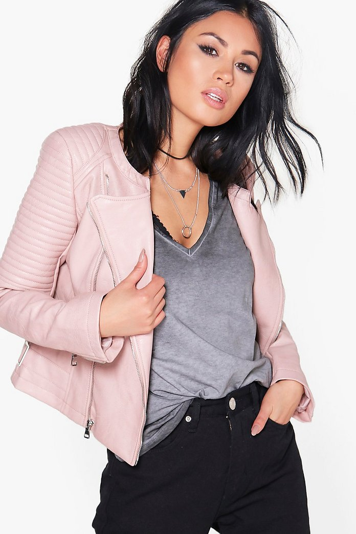 Eleanor Boutique Faux Leather Biker Jacket