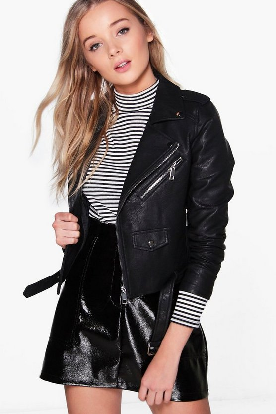 Lena Boutique Belted Vegan Leather Biker Jacket