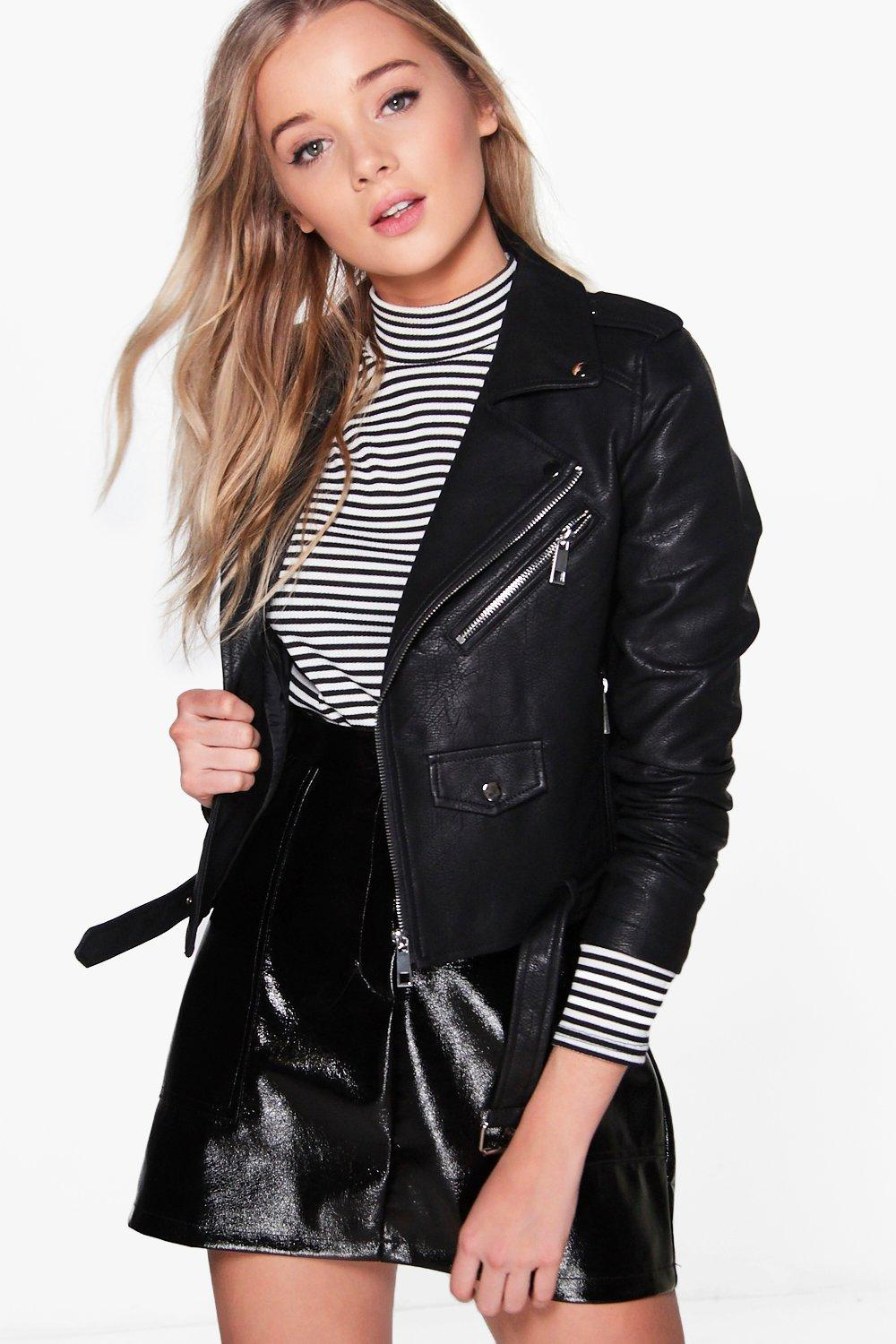 Lena Boutique Belted Faux Leather Biker Jacket