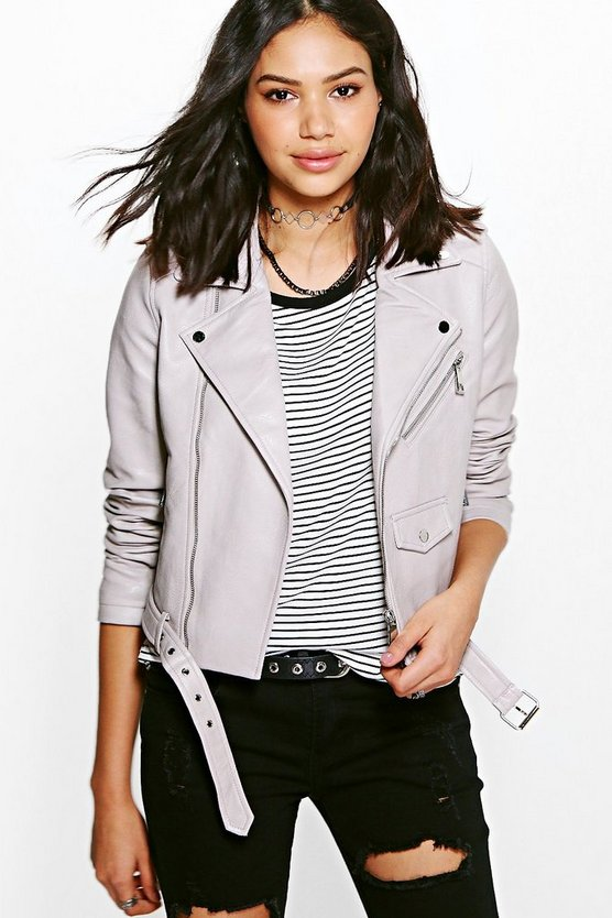Eve Boutique Belted Faux Leather Biker Jacket