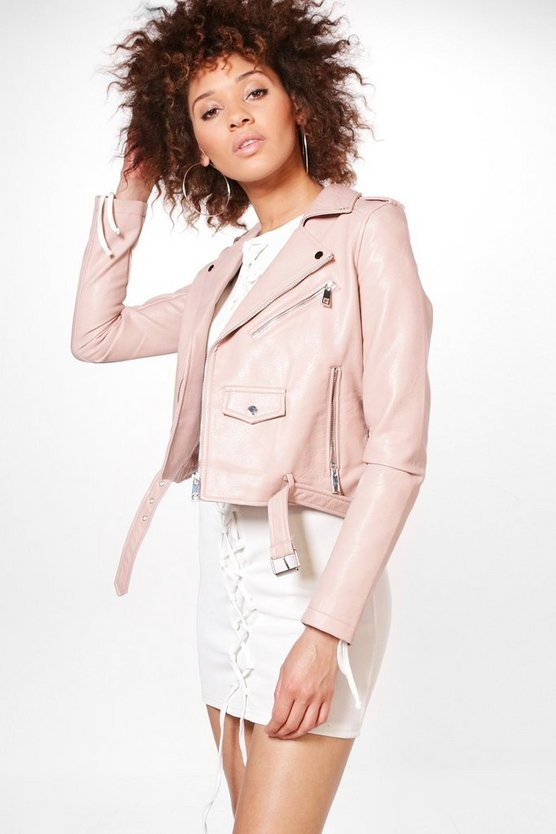 Gemma Boutique Belted Faux Leather Biker Jacket