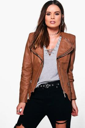 Natasha Faux Leather Biker Jacket