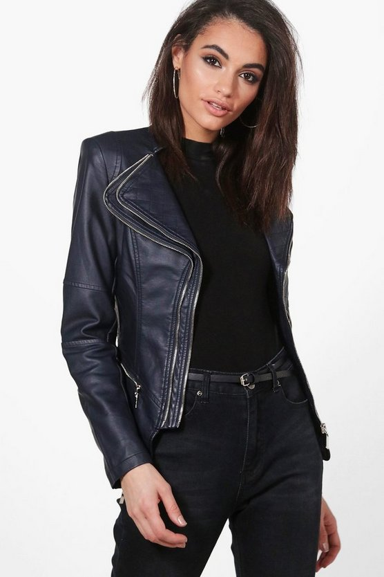 Nicole Faux Leather Biker Jacket