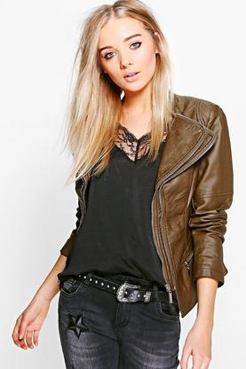 Saska Faux Leather Biker Jacket