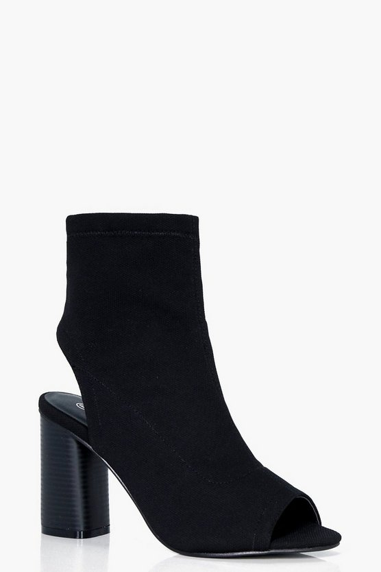 Vanessa Wide Fit Peeptoe Sock Boots
