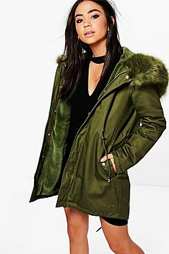 Alisha Boutique Faux Fur Hood Parka