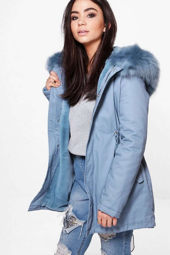 Ava Boutique Faux Fur Hood Parka