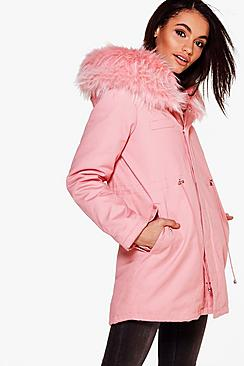 Brooke Boutique Faux Fur Hood Parka