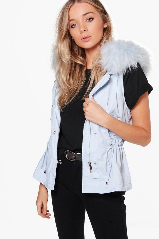 Angela Boutique Faux Fur Hood Gilet