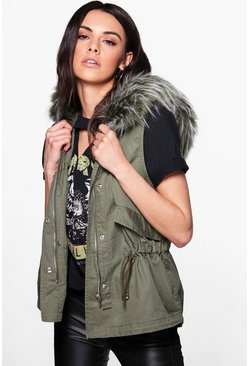 Beth Boutique Faux Fur Hood Gilet