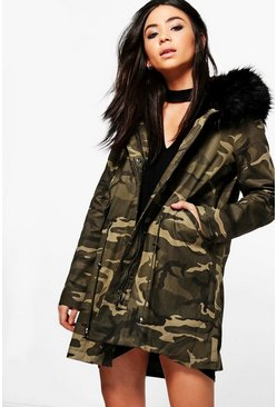 Tiffany Boutique Camo Faux Fur Hood Parka