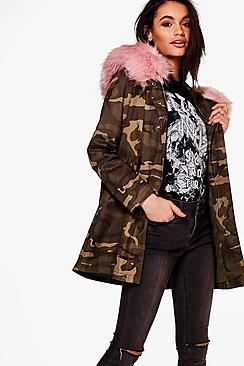 Ashleigh Boutique Camo Faux Fur Hood Parka