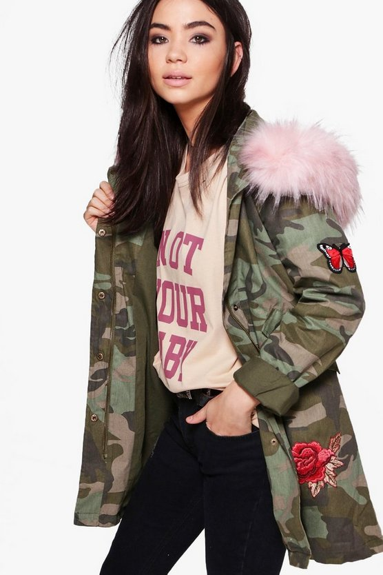 Olivia Boutique Camo Embroidered Faux Fur Hood Parka