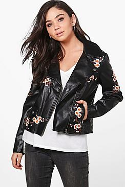 Danielle Embroidered Biker Jacket