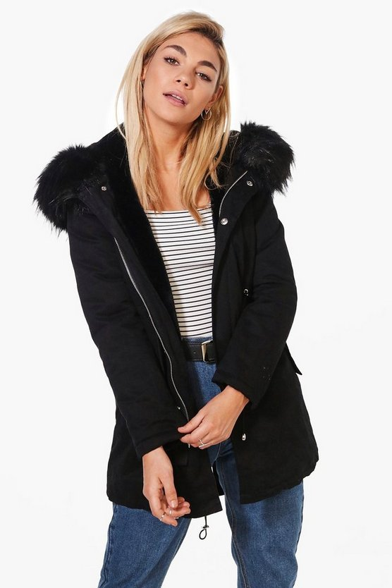 Faye Boutique Faux Fur Hood Parka