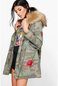 Lisa Boutique Camo Embroidered Faux Fur Hood Parka
