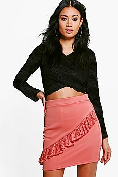Darcy Lace Ruffle Front Mini Skirt
