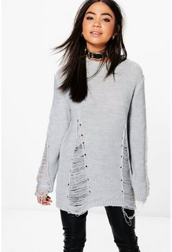 Lois Distressed Sleeve & Front Jumper