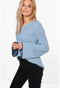 Imogen Stripe Edge Wide Sleeve Chunky Jumper