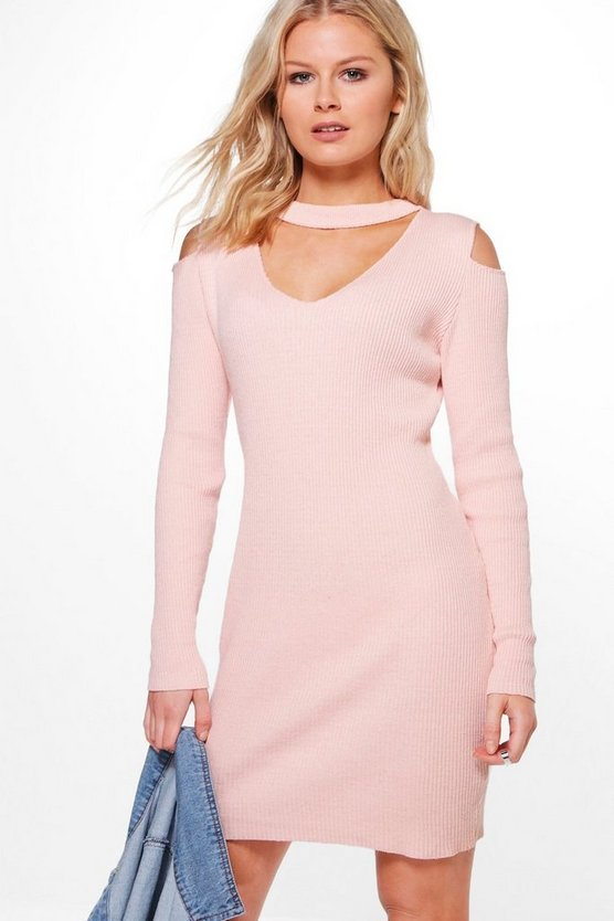 Natalia Choker Rib Knit Bodycon Jumper Dress